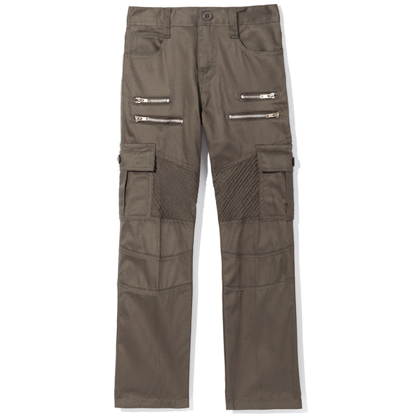 Boys Olive Moto Pants With Cargo Pockets - Citi Trends Boys - Front