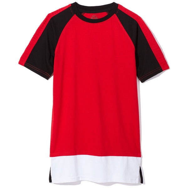 Red Boys Colorblock Long-Length Tee - Citi Trends Boys - Front