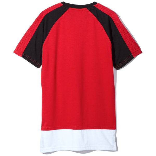 Red Boys Colorblock Long-Length Tee - Citi Trends Boys - Back