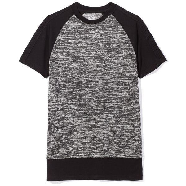 Marled Black and Grey Long-Length Baseball Tee - Citi Trends Boys - Front