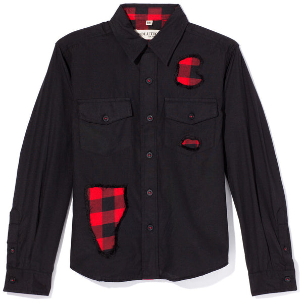 Pop Of Plaid Boys Black Button-Up - Citi TrendsBoys - 1