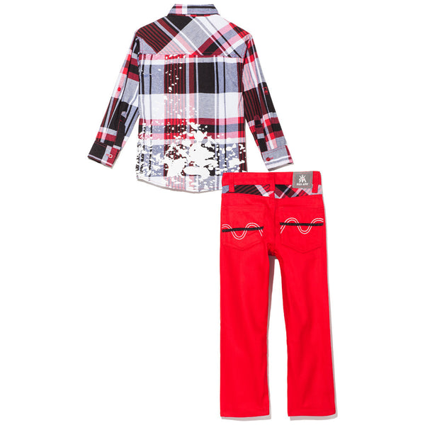Red Plaid Button-Up With Paint Splatter And Red Bull Denim Jean Set - Citi Trends Boys - Back