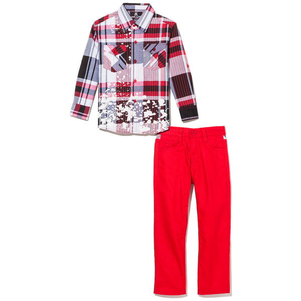 Red Plaid Button-Up With Paint Splatter And Red Bull Denim Jean Set - Citi Trends Boys - Front