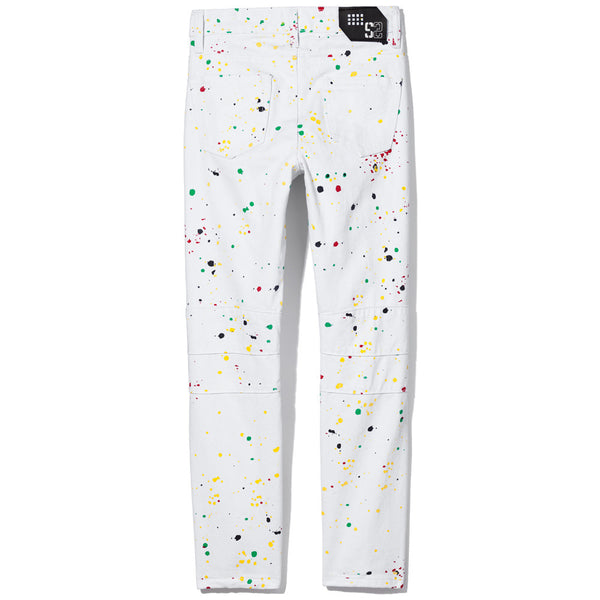 Paint On The Town Boys White Paint Splatter Moto Jean