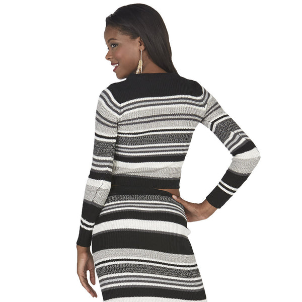 Black and Grey Long-Sleeve Striped Knit Crop Top - Citi Trends Juniors - Back