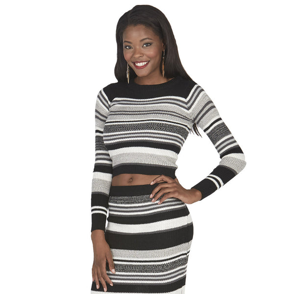 Black and Grey Long-Sleeve Striped Knit Crop Top - Citi Trends Juniors - Front