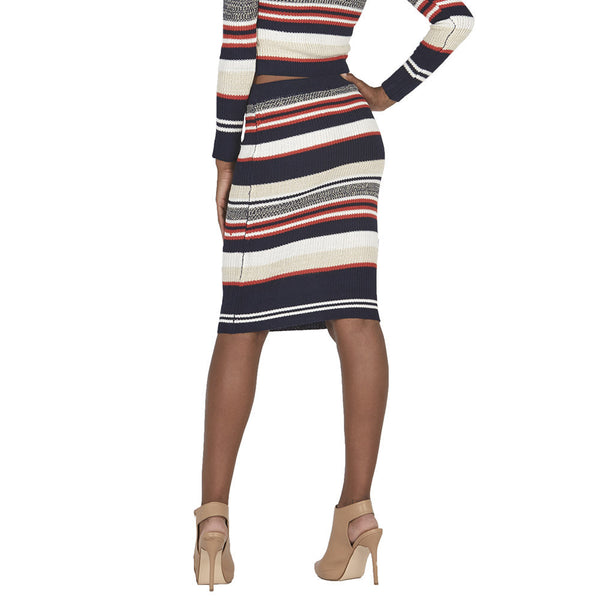 Navy and Orange Striped Midi-Length Knit Skirt - Citi Trends Juniors - Back