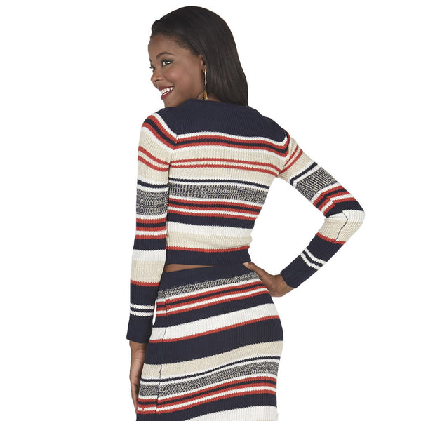 Navy and Orange Long-Sleeve Striped Knit Crop Top - Citi Trends Juniors - Back