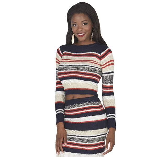 Navy and Orange Long-Sleeve Striped Knit Crop Top - Citi Trends Juniors - Front