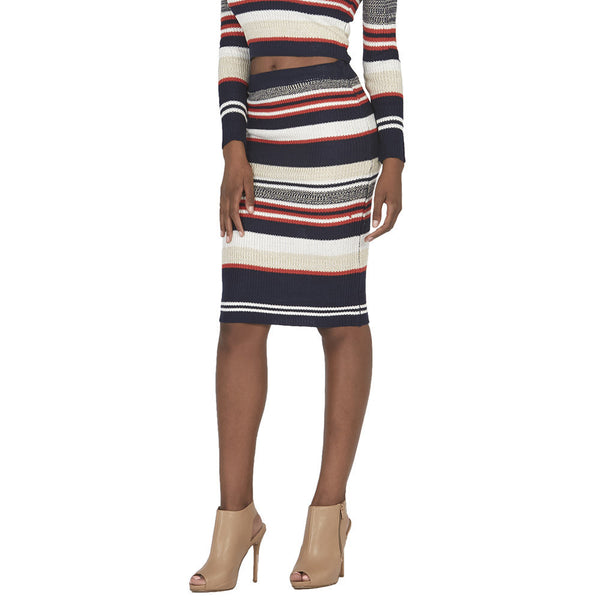 Navy and Orange Striped Midi-Length Knit Skirt - Citi Trends Juniors - Front