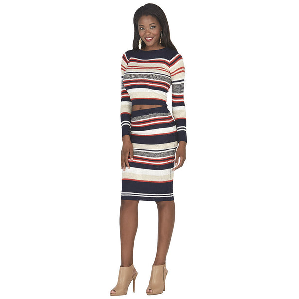 Navy and Orange Striped Midi-Length Knit Skirt - Citi Trends Juniors - Full Length Front