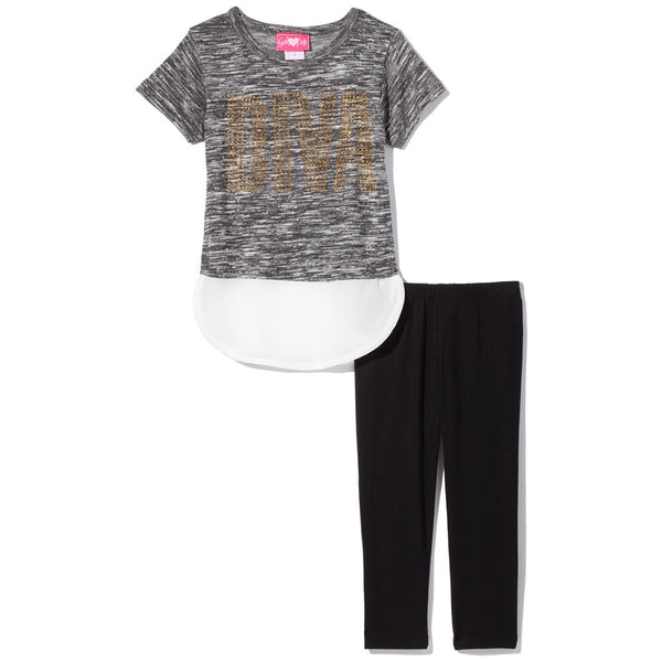 Diva Studded Grey Marled Top With White Chiffon Curve-Hem and Black Legging Set - Citi Trends Girls - Front