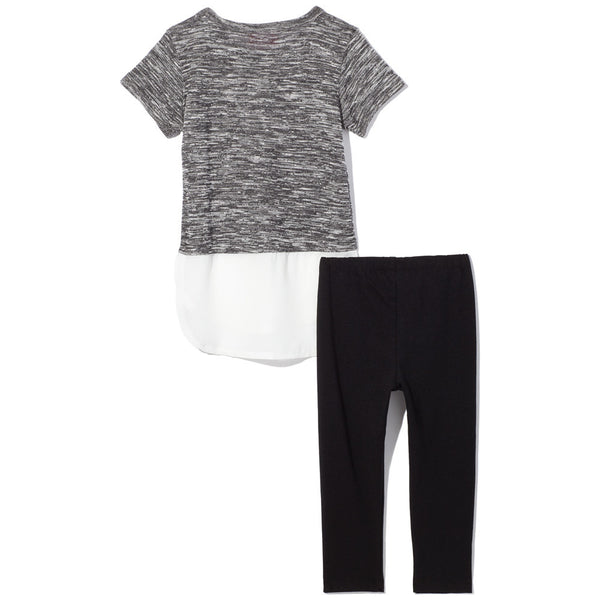 Diva Studded Grey Marled Top With White Chiffon Curve-Hem and Black Legging Set - Citi Trends Girls - Back