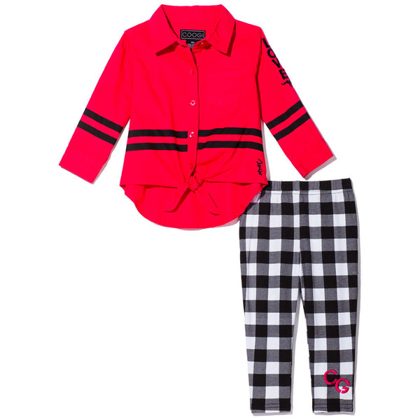 Woven Black & White Plaid Legging Set With Red Tie-Front Button-Up - Citi Trends Girls - Front