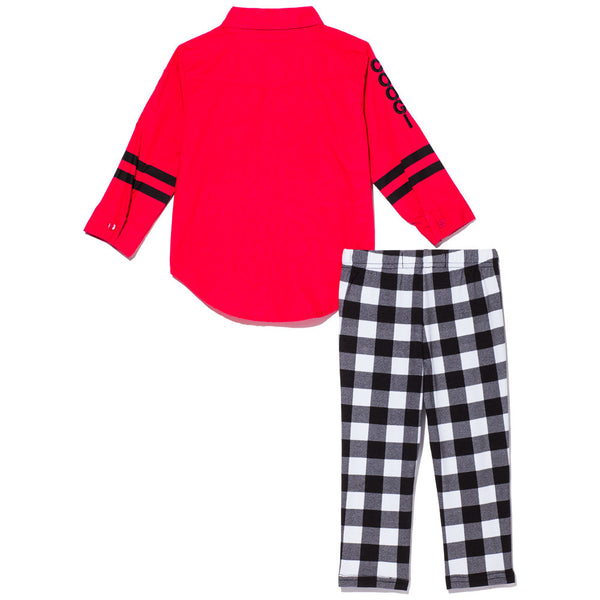 Woven Black & White Plaid Legging Set With Red Tie-Front Button-Up - Citi Trends Girls - Back