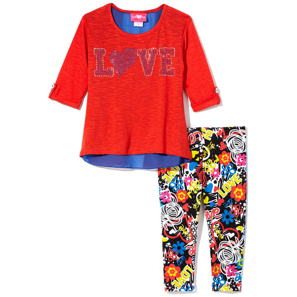 Love Rhinestone Red and Blue Top With Graffiti Print Black Legging Set - Citi Trends Girls - Front