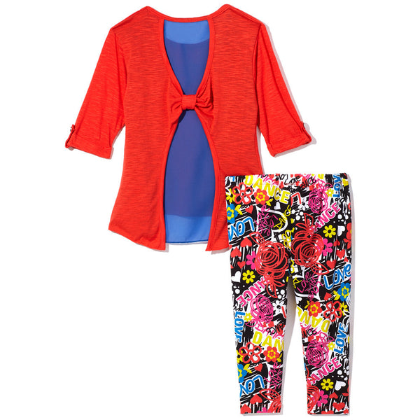 Love Rhinestone Red and Blue Top With Graffiti Print Black Legging Set - Citi Trends Girls - Back
