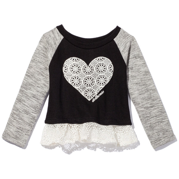 Black And Grey Raglan Terry Top with Crochet Heart And Ruffled Crochet Hem - Citi Trends - Girls