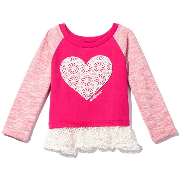 Fuchsia Raglan Terry Top with Crochet Heart And Ruffled Crochet Hem - Citi Trends - Girls