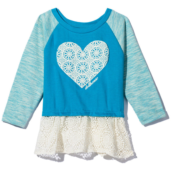 Blue Raglan Terry Top with Crochet Heart And Ruffled Crochet Hem - Citi Trends - Girls