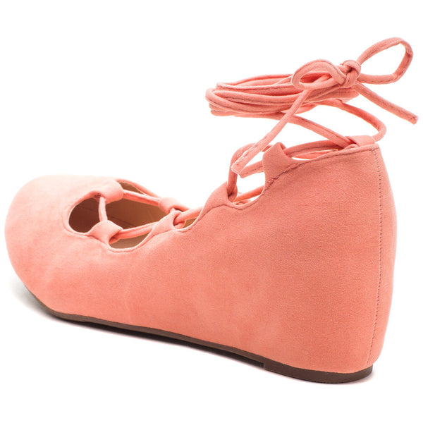 Peach Lace-Up Ballet-Style Wedge - Citi Trends - Shoes - Back