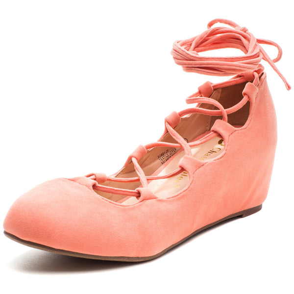 Peach Lace-Up Ballet-Style Wedge - Citi Trends - Shoes - Front