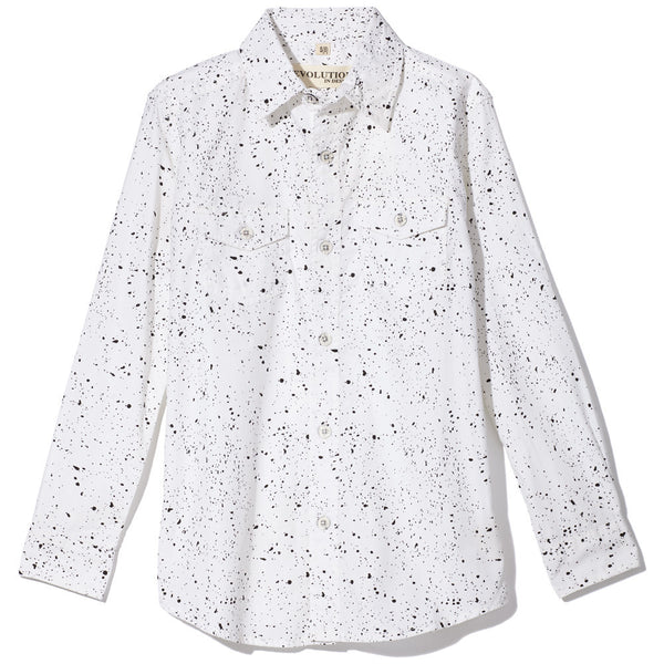 Black/White Paint Splatter Long-Sleeve Button-Up Shirt - Citi Trends Boys - Front