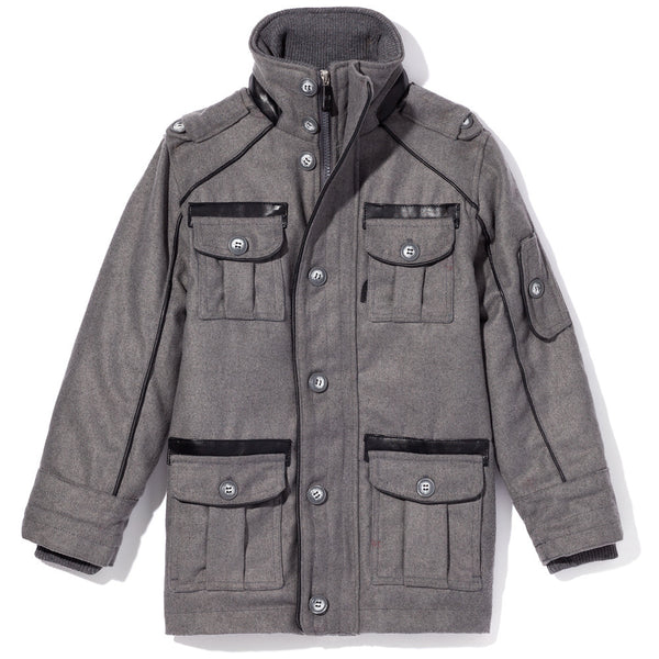 Grey Wool Peacoat With Cargo Pockets and Black Faux Leather Trim - Citi Trends Boys - Front