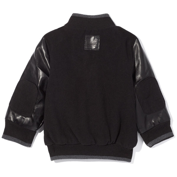 Black Wool and Faux Leather Zip-Up Bomber Jacket - Cit Trends Boys - Back