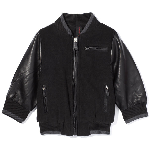 Black Wool and Faux Leather Zip-Up Bomber Jacket - Cit Trends Boys - Front