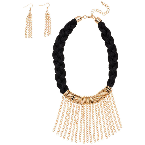 The Tassel Trend 2-Piece Chain Necklace and Earring Set - Citi Trends Accessories - Front