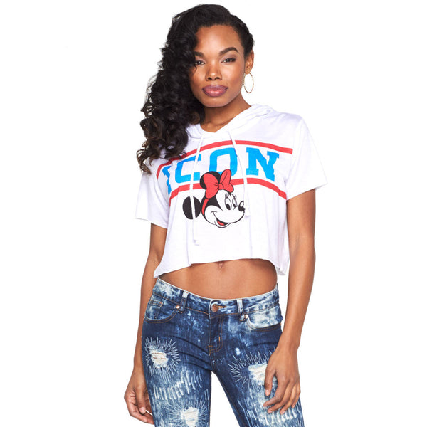 Icon Status Minnie Mouse Cropped Hoodie - Citi Trends Ladies - Front