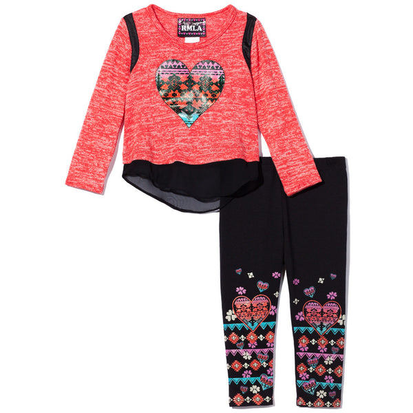 Heart To Heart Girls 2-Piece Hacci Legging Set