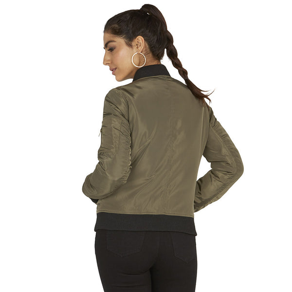 Keep Calm And Patch On Olive Bomber Jacket - Citi Trends Ladies - Back