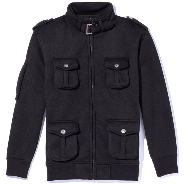 Attention To Detail Boys Black Military Fleece Jacket - Citi Trends Boys - Front
