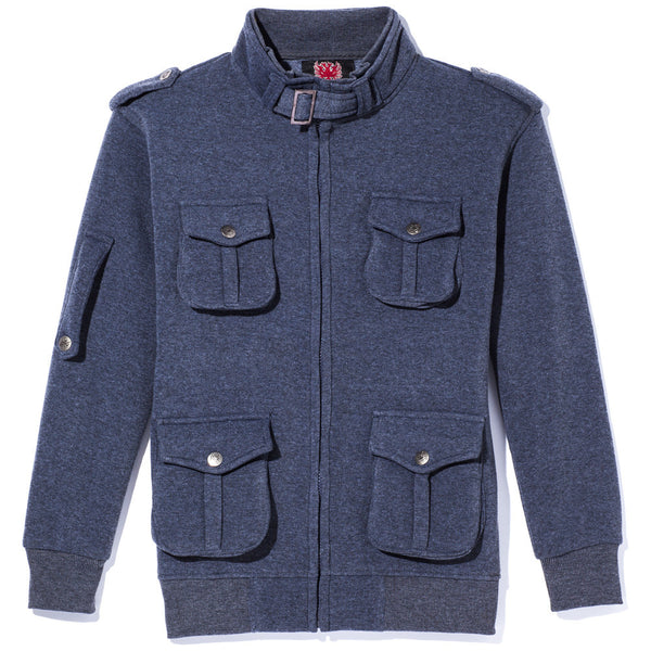 Attention To Detail Boys Charcoal Military Fleece Jacket - Citi Trends Boys - Front