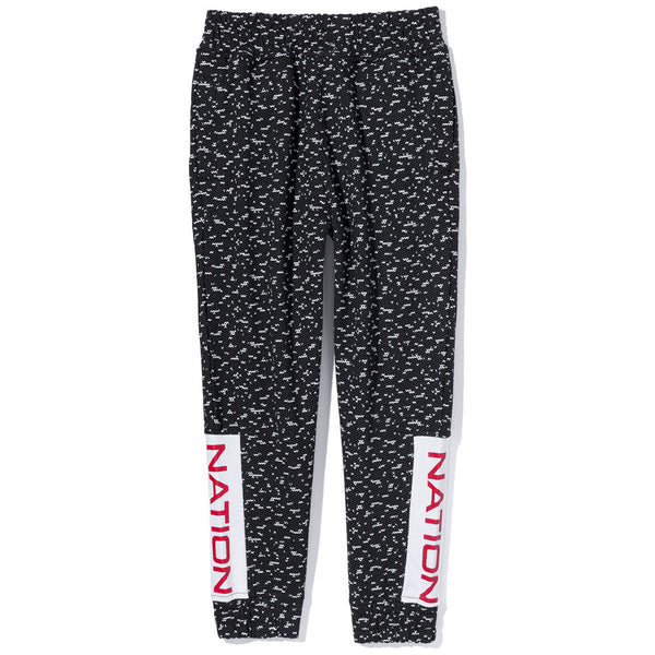 Nation Print Black Knit Jogger Pant - Citi Trends Boys - Front