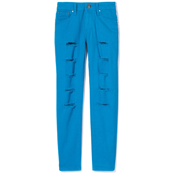 Turquoise Ripped And Tear Denim Skinny Jean - Citi Trends Girls - Front