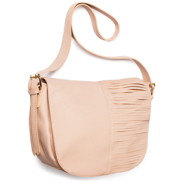 Beige Large Crossbody Bag With Front Cutout Fringe - Citi Trends Accessories - Side