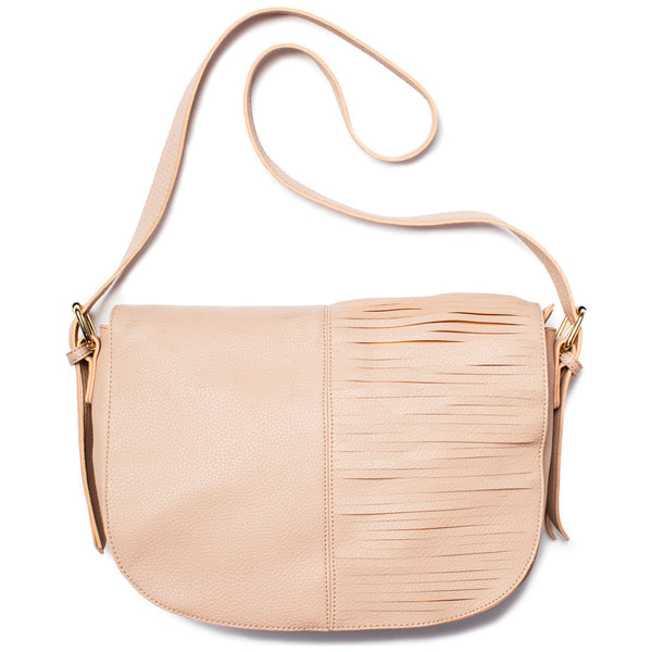 Beige Large Crossbody Bag With Front Cutout Fringe - Citi Trends Accessories - Front