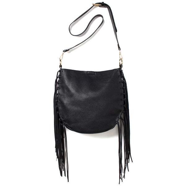 Black Crossbody Bag With Fringe Detail - Citi Trends Accessories - Front