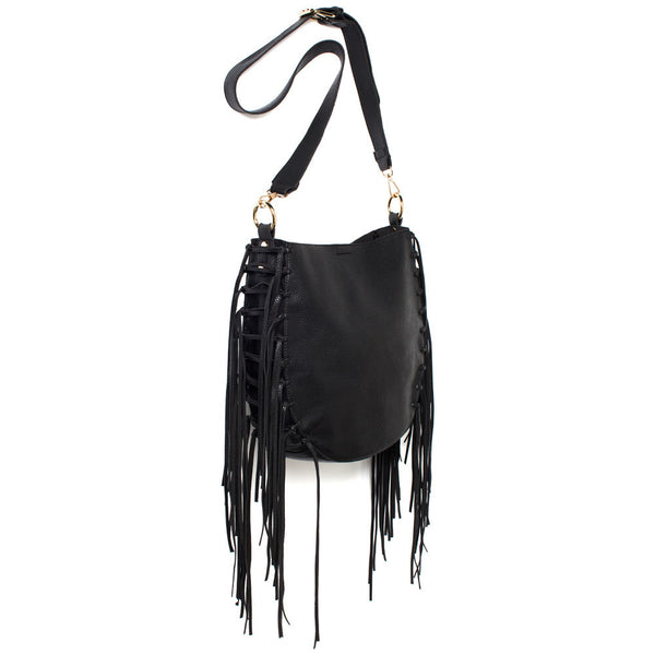 Black Crossbody Bag With Fringe Detail - Citi Trends Accessories - Side