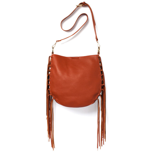 Brown Crossbody Bag With Fringe Detail - Citi Trends Accessories - Front