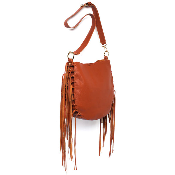 Brown Crossbody Bag With Fringe Detail - Citi Trends Accessories - Side