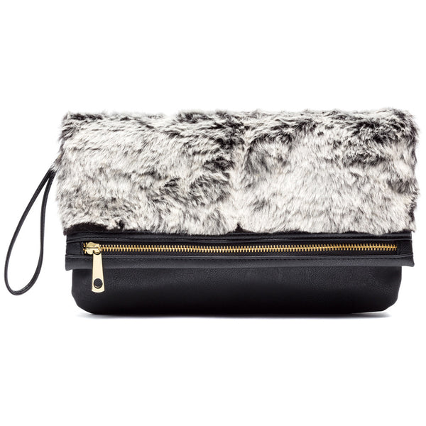 Bound Fur Glamour Black Foldover Clutch - Citi Trends Accessories - Front