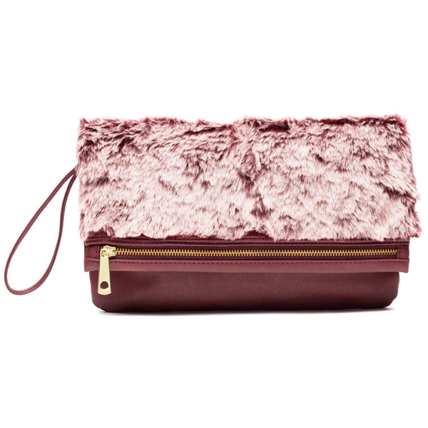 Bound Fur Glamour Burgundy Foldover Clutch - Citi Trends Accessories - Front