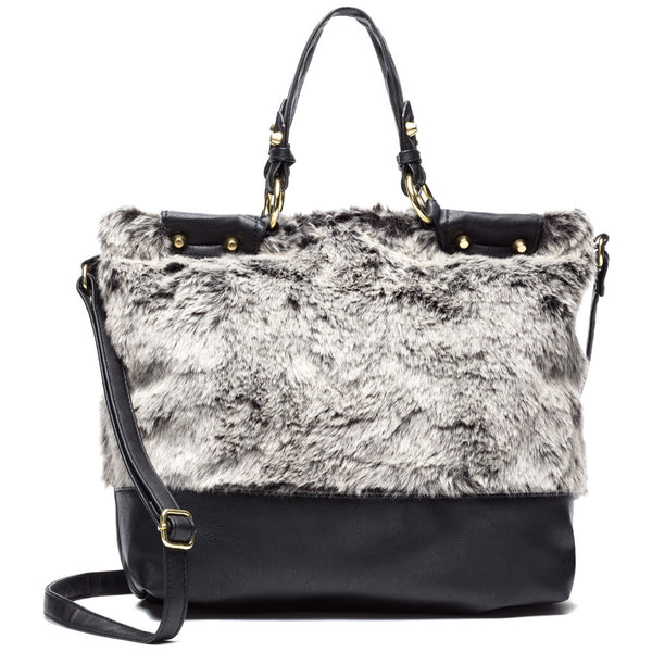 The Plush Life Black Faux Fur Tote - Citi Trends Accessories - Front
