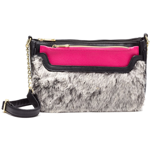 Chic Vibes Black/Fuchsia 2-Piece Faux Fur Crossbody Set - Citi Trends Accessories - Front