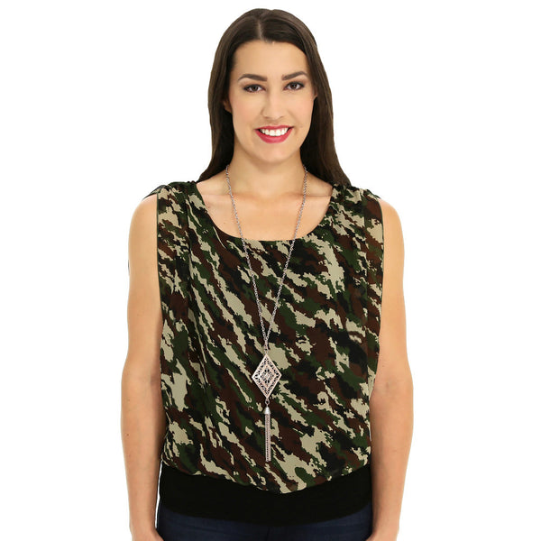 Print At Play Ruched Camo Top With Necklace - Citi TrendsPlus - 3