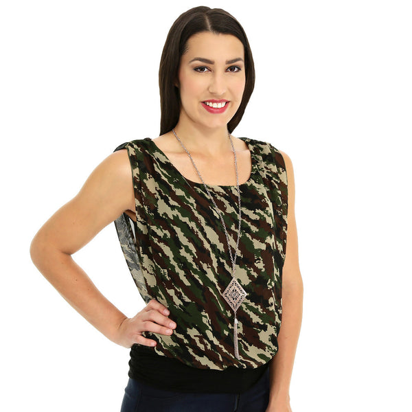 Print At Play Ruched Camo Top With Necklace - Citi TrendsPlus - 1